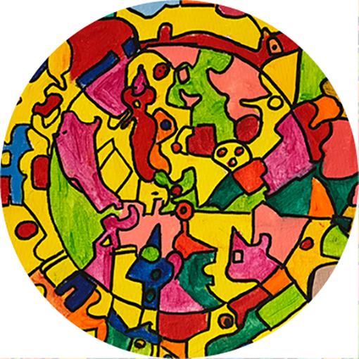 Ronde kaart kleurrijk
